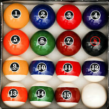 Modern Style Pool Table Billiard Ball Set W Red Circle # 8 Ball