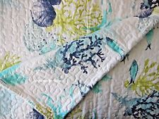 NICOLE MILLER Coastal KING QUILT Aqua Blue Green CORAL SEA LIFE Cotton BEACH NEW