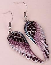 Angel wing dangle drop earrings women her biker jewelry gift silver purple EC23