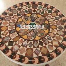 "42"" Exclusive Marble Round Table Top Pietra Stones Inlaid Design Hallway Decor"