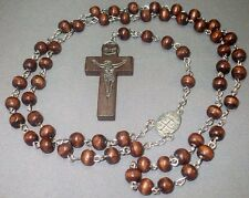 Rosary Necklace Wood Bead Silver Tone Chain Embossed Crucifix DARK BROWN Classic