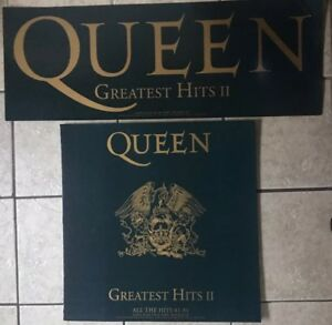 2 QUEEN GREATEST HITS 2 LP CD UK PROMO RETAIL SHOP DISPLAY BANNER STAND