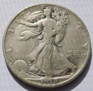 1938-D Walking Liberty Silver Half Dollar 50C