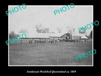 OLD POSTCARD SIZE PHOTO OF THE JONDARYAN WOOL SHEDS & SHEARERS QLD c1869