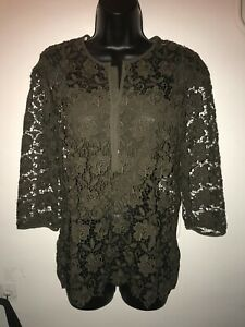 ZARA CHOCOLATE BROWN LACE TOP WITH CAMISOLE SIZE MEDIUM
