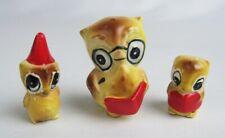 Vintage Josef Originals Miniature Owl Mama Dunce Cap & Reading Baby Figurine Set