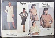 2 Lot Vogue American Women's Calvin Klein,Valentino Sew Patterns #2622,1625 Sz14