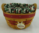 Longaberger 1999 Tree Trimming Peppermint Basket Liner, Protector, Tie-on, Box
