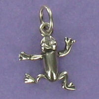 Frog Charm Sterling Silver 925 for Bracelet Amphibian Pond Lake Swamp Jumping