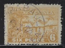New Guinea 1928 6d Yellow Bister Native Huts Sc# 7 used