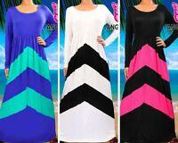 Ladies Maxi Dress Long Sleeve Summer Holiday Beach Casual Womens Dresses Chevron