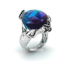 Pear Blue Sapphire & Black Stones 925 Sterling Silver New Mermaid Designed Ring