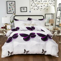 White Quilt Duvet Cover Set Queen King Size Bed Butterfies New Doona Covers