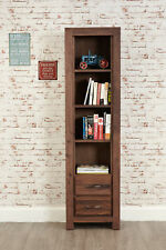 Mayan Dark Wood 4 Shelf Bookcase 2 Drawers Display Narrow Solid Walnut