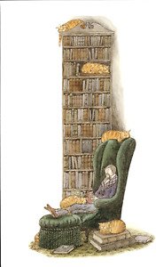 "EDWARD GOREY Bibliophile With Cats 10""x 15"" Wall Art Poster Book Page"
