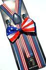 NEW PATRIOTIC US AMERICAN FLAG USA Adjustable Suspenders and Bow Tie