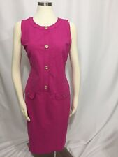 Talbots Pink Ponte Gold Henley Button Pocket Sheath Stretch Dress 12