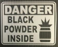 "DANGER Black Powder Inside - 4"" Silver Decal for Gun Safe"