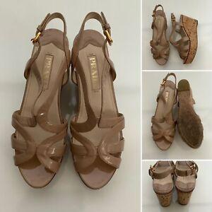 Preloved - Prada Beige Patent Leather Strappy Shoes - Sz 37 UK 4