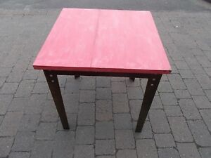 70 x 70 cm Timber Topped  Metal Legged Cafe - Work Table (red)