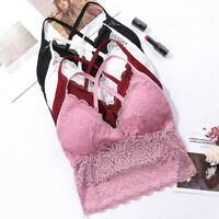 Women Lace Floral Padded Bralette Bralet Bras Bustier Crop Tops Cami Tank Top