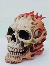 8 Inch Halloween Lit on Fire Skeleton Skull Resin Statue Figurine