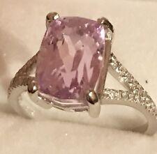 4.80CT!  Natural Pink Kunzite Emerald Cut & Diamonds 14K  White Gold Women Ring