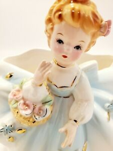 Vintage 1961 INARCO E-436B Ceramic Vase or Planter, Girl with Basket of Roses