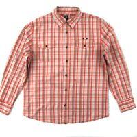 CAVI Button Down Shirt Men's Size XL Orange Gray Plaid Long Sleeve Pockets