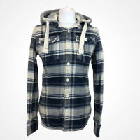 Superdry Ladies Checked Lumberjack Removable Hood Shirt Jacket Sz S