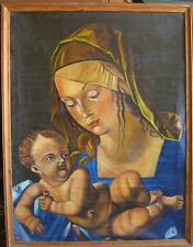 Virgen con Niño Jesús ° Maria Cirílico Firmado° Ruso Pintura Al Óleo / VR1