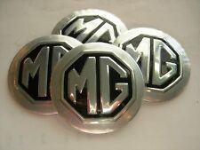 "MG MGB  WHEEL CENTER CAP EMBLEMS 4 ALUMINUM STICKERS DECAL CONED 2 3/16""  3D NEW"