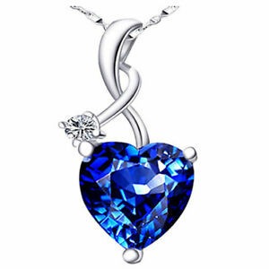 Created Blue Sapphire Pendant Sterling Silver Heart Necklace for Women Gifts