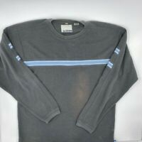 Point Zero Mens Thermal Waffle Knit Shirt Gray Blue Long Sleeves Crew Neck M
