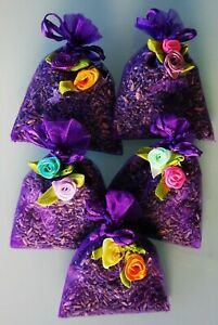 THERAPEUTIC LAVENDER IN ORGANZA BAGS. 5 BAGS OF QUALITY LAVENDER FROM TASMANIA