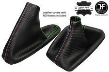 VERDE CUCITURE CARBON VINILE CUFFIA LEVA E FRENO PER BMW E90 E91 E92 E93 M///