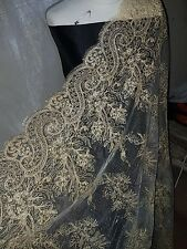 "20""new gold SCALLOPED LACE EMBRIOUDED SEQUIN FABRIC 58"" WIDE"