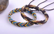 2PCS Surfer Colorful Handmade Hemp Leather Braided Unisex Bracelet Bangle Cuff O