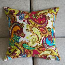 "Multi-Color Paisley Throw Pillow Case Decor Cushion Cover 17"" Cotton Linen PK101"