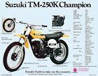 1973 SUZUKI TM-250K CHAMPION SALES SPECS AD/ BROCHURE