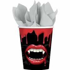 8 X Tazas De Papel Fiesta De Halloween Fangtastic colmillos de vampiro chorreando sangre Vajilla