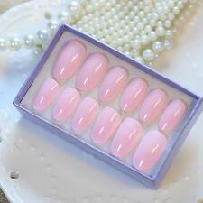 24 PCS Solid Pink Long Acryli Nail Tips Oval Full Smooth False Nails