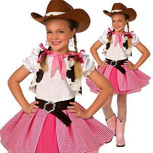 Girls Cowgirl Cutie Costume Kids Western Cow Girl Fancy Dress Cowboy Sweetie