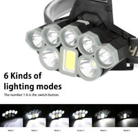 High Power COB+2*T6+5*XPE Headlamp Headlight Flashlight Head Torch Lamp 90000LM