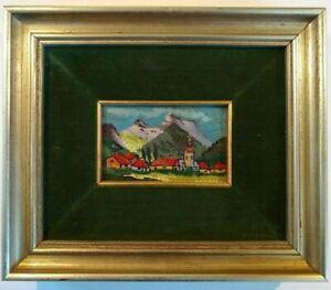 Original Vintage Italian Micro Mosaic Framed Village Landscape Artwork R. Trave