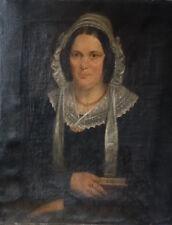 Superbe  portrait d'une Dame aristocrate, Huile sur toile, époque Restauration
