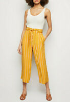 New Look Mustard & White Stripe Tie Waist Cropped Wide Leg Trousers Size 6 to 18