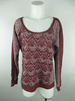 Maurices Women's sz L Polyester Blend Geometric Scoop Neck Maroon Blouse Top
