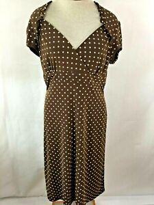 Nueva dress Size 10 short sleeve knee length brown pink polka dot