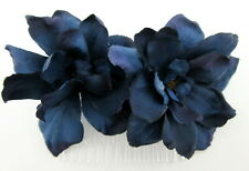 Double Navy Blue Apple Blossom Silk Flower Hair Comb,Bridal,Pin Up